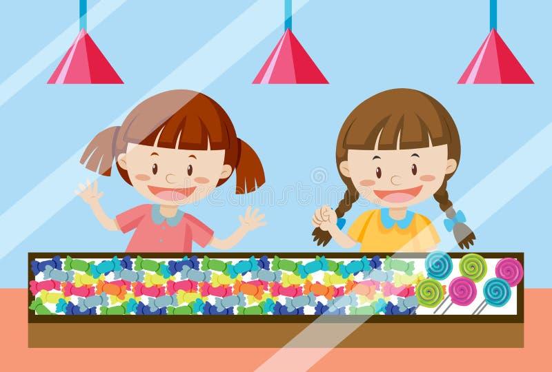 Barn som köper den söta godisen vektor illustrationer