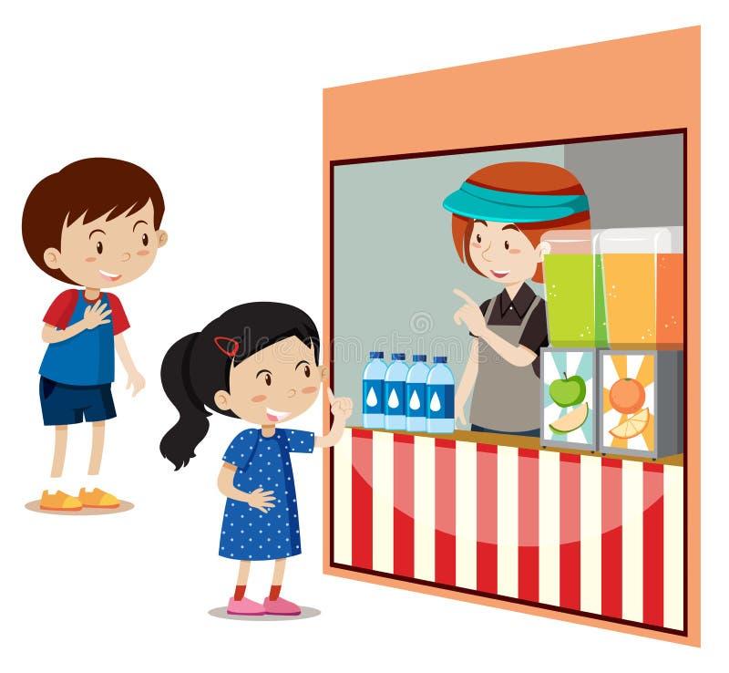 Barn som köper drinkar på lagret stock illustrationer