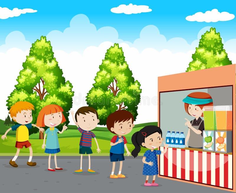 Barn som köper drinkar parkerar in vektor illustrationer
