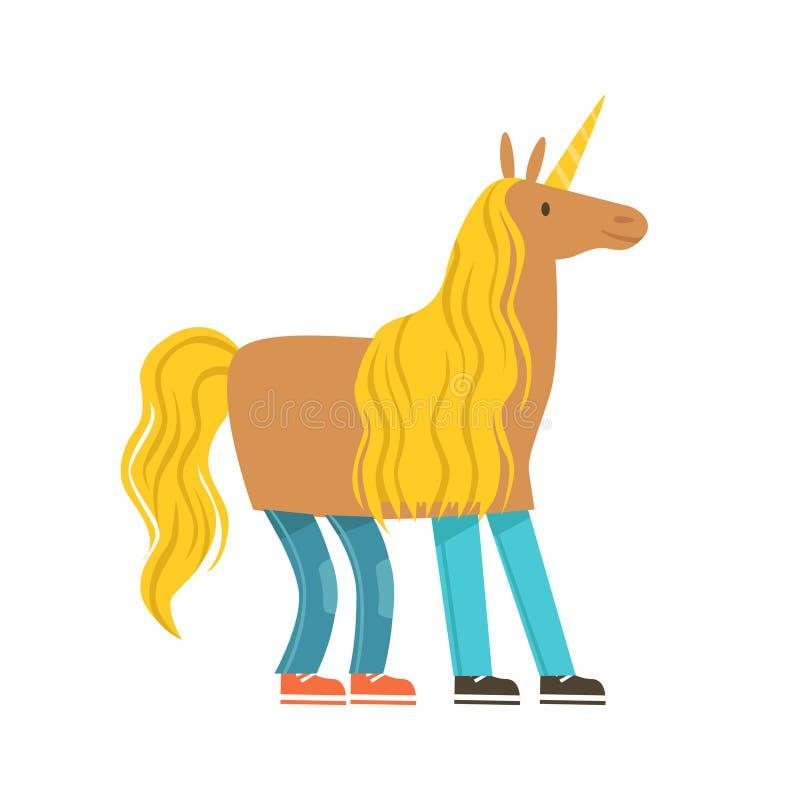 Barn som kläs som en enhörning, enhörningdräkt Färgrik illustration för vektor för tecknad filmtecken stock illustrationer