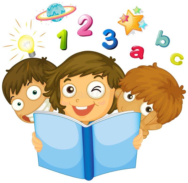 Barn som läser matematikboken stock illustrationer