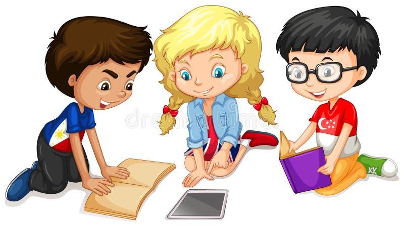 Barn som läser och gör arbete stock illustrationer