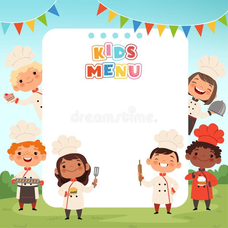 Barn som lagar mat bakgrund E stock illustrationer