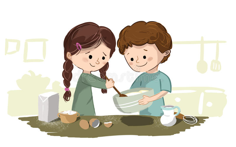 Barn som lagar mat i kök royaltyfri illustrationer
