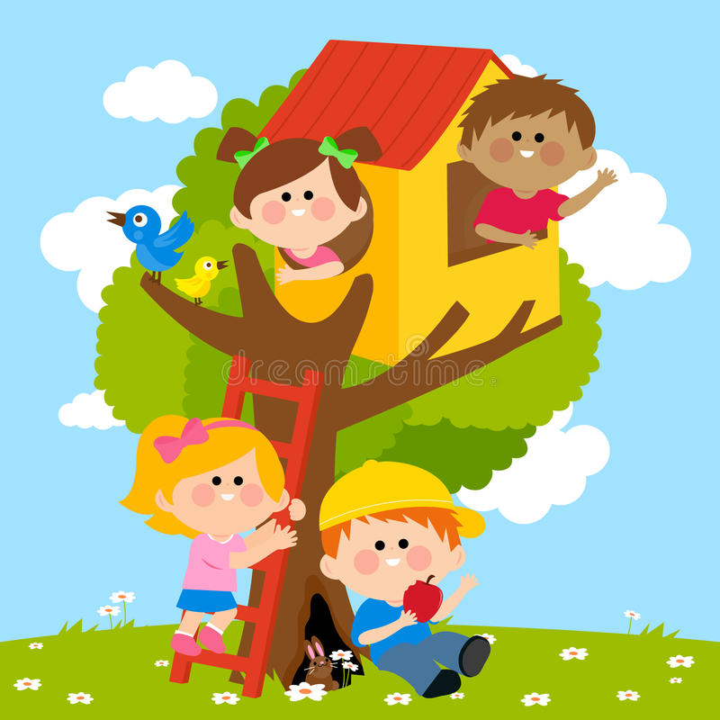 Barn som leker i ett treehus royaltyfri illustrationer