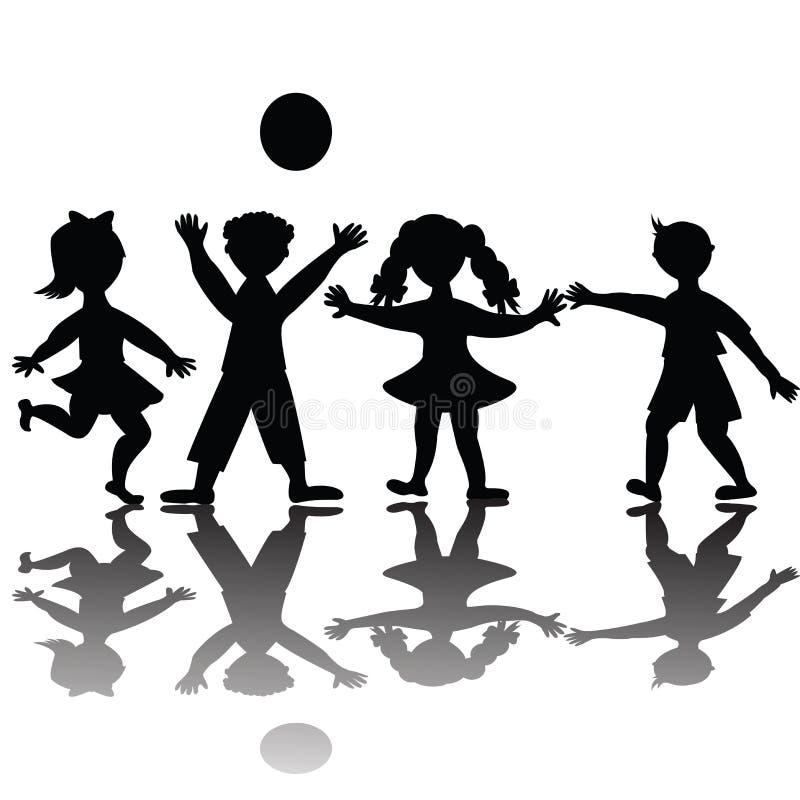 barn som leker silhouetten stock illustrationer