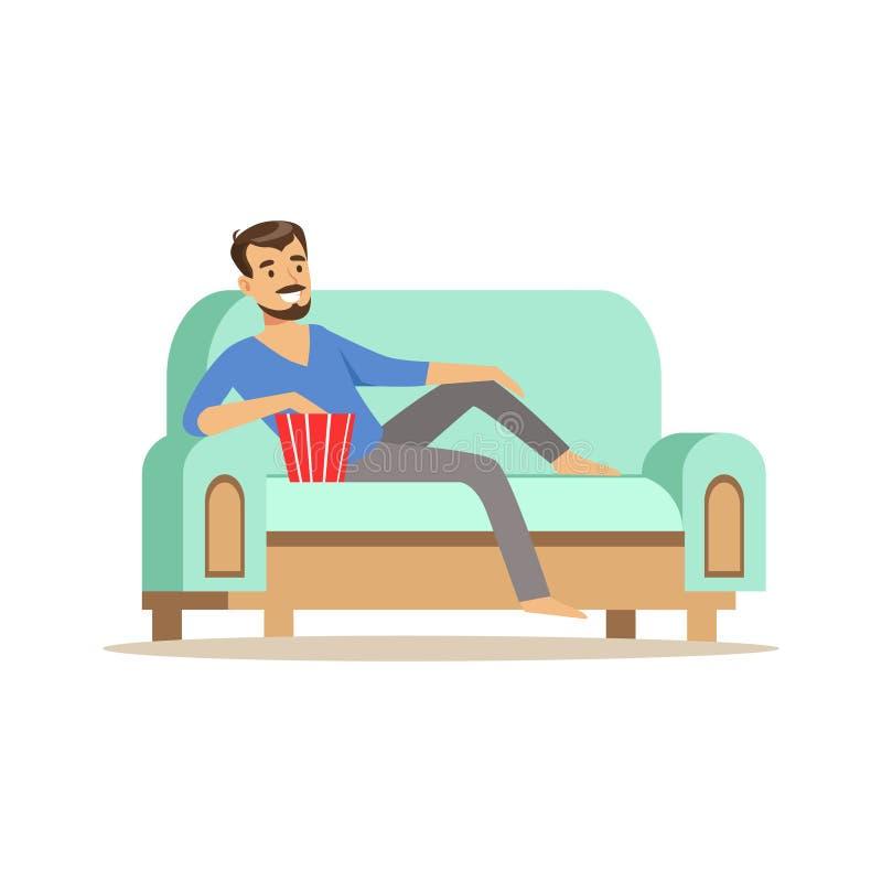 Barn som ler den skäggiga mannen som ligger på en lighblåttsoffa stock illustrationer