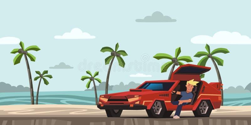 Barn som ler grabbsammanträde i röd racerbil på tropisk strandbakgrund Handelsresande i den naturliga miljön Plan vektor royaltyfri illustrationer