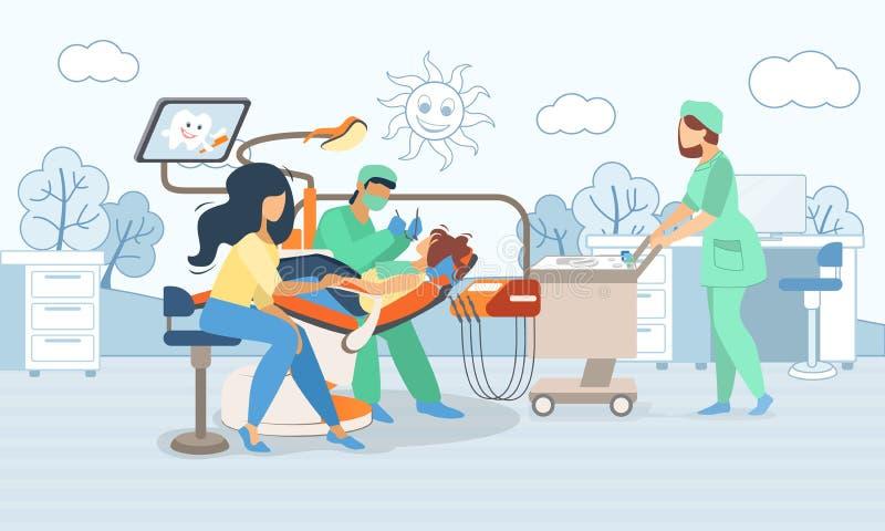 Barn som ligger i medicinsk stol i tandläkekonstkabinett royaltyfri illustrationer