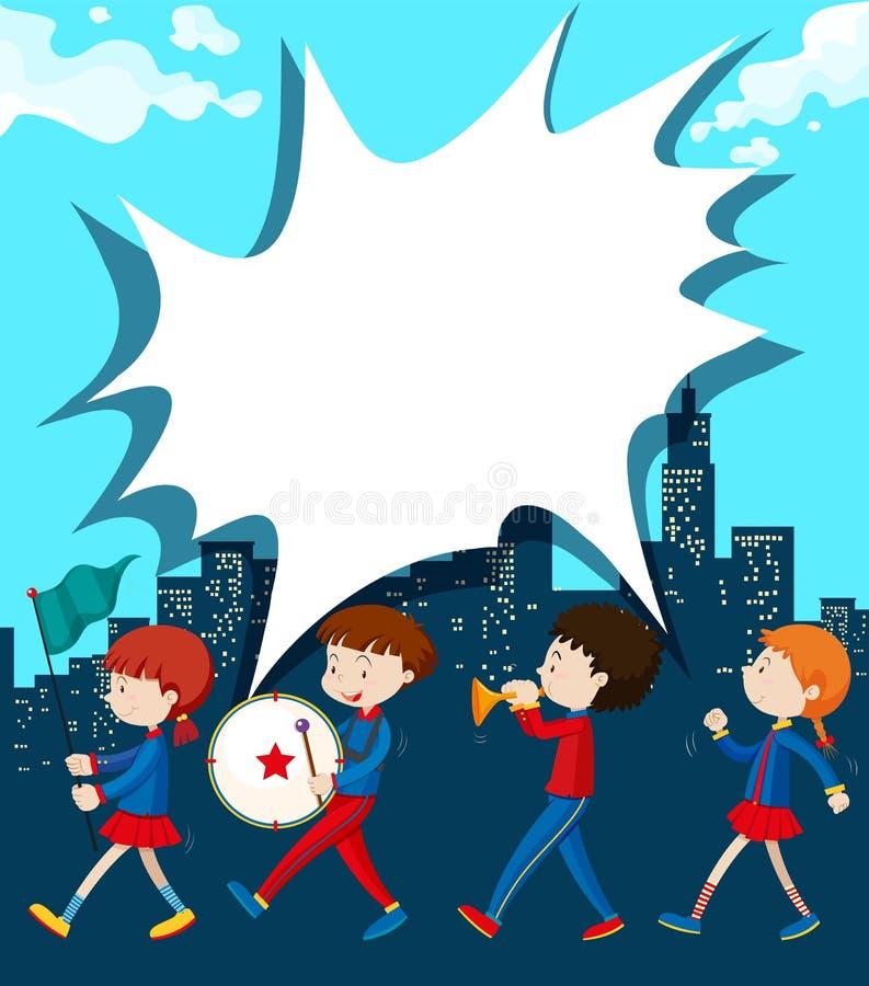 Barn som marscherar i musikbandet royaltyfri illustrationer