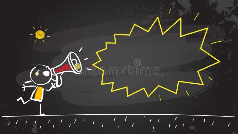 Barn som meddelar i en megafon stock illustrationer