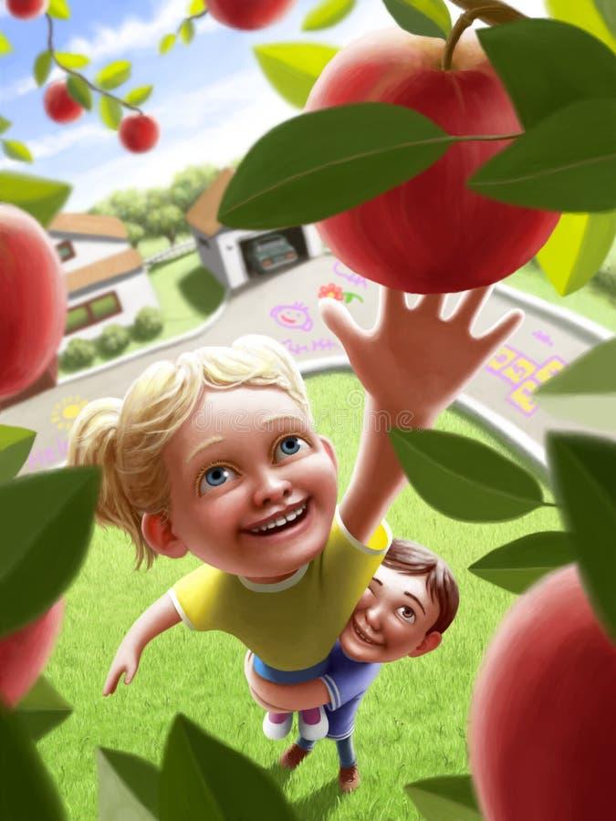 Barn som når för ett äpple arkivfoto