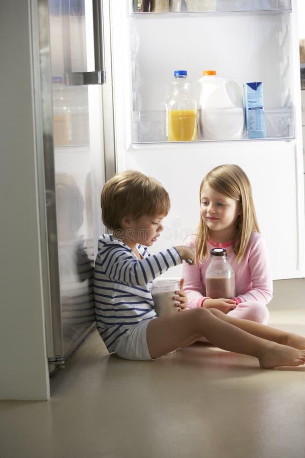 Barn som plundrar kylen royaltyfri bild