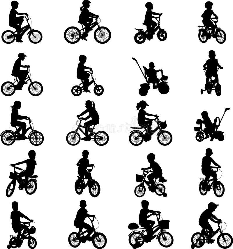 Barn som rider cyklar vektor illustrationer