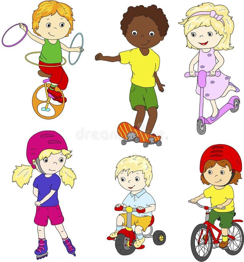 Barn som rider enhjulingen, cykeln och sparkcykeln som rollerblading och stock illustrationer