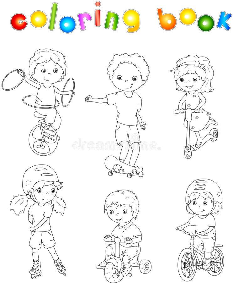Barn som rider enhjulingen, cykeln och sparkcykeln som rollerblading och royaltyfri illustrationer
