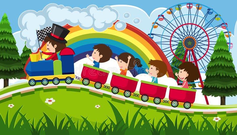 Barn som rider ett drev i gyckel, parkerar stock illustrationer