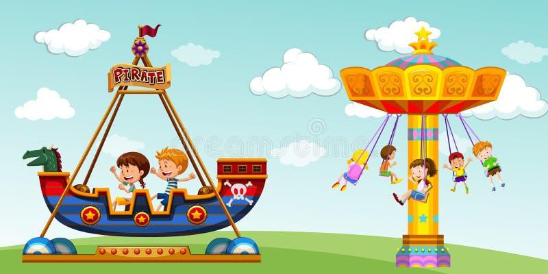Barn som rider på, piratkopierar skeppet och gunga vektor illustrationer