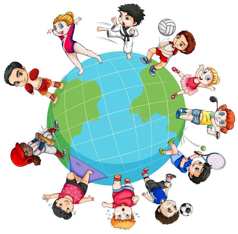 Barn som runt om världen gör sportar stock illustrationer