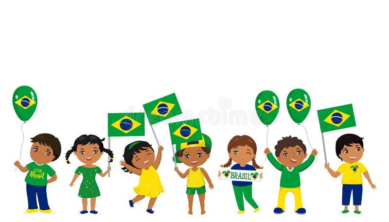 Barn som rymmer Brasilien flaggor också vektor för coreldrawillustration royaltyfri illustrationer