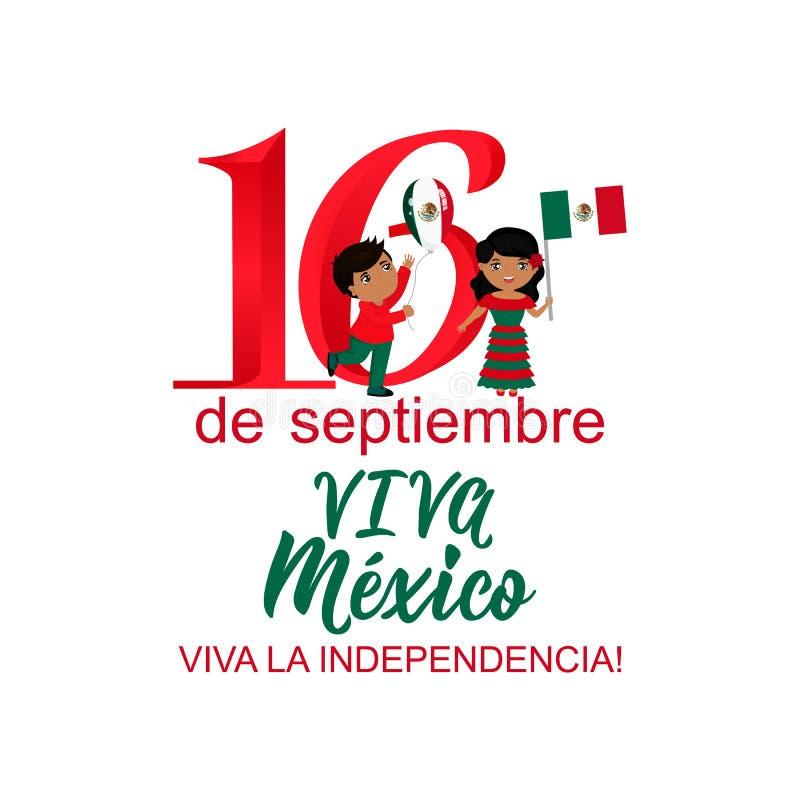 Barn som rymmer Mexico flaggor Mexicansk översättning: th 16 av September Lycklig självständighetsdagen Viva Mexico stock illustrationer