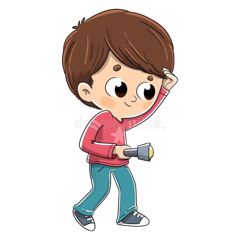 Barn som söker med en ficklampa vektor illustrationer