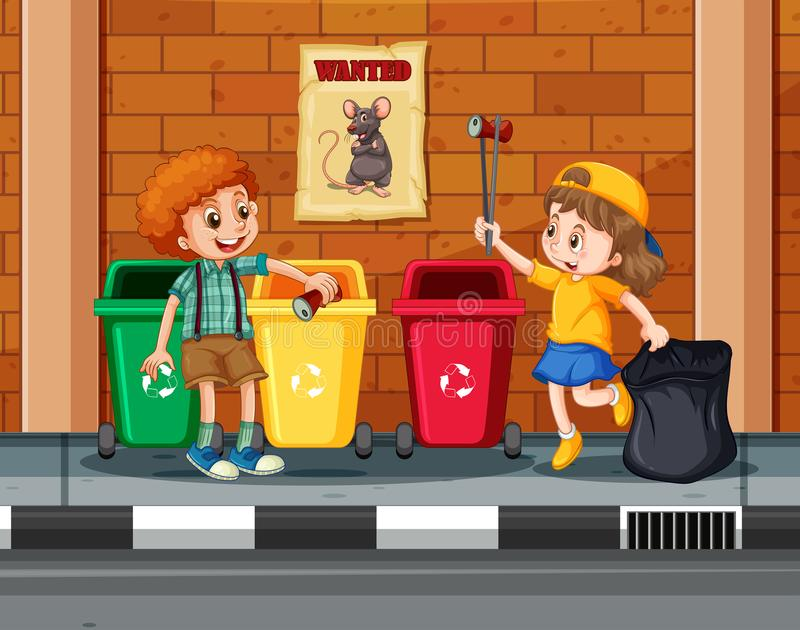 Barn som samlar och gör ren staden royaltyfri illustrationer