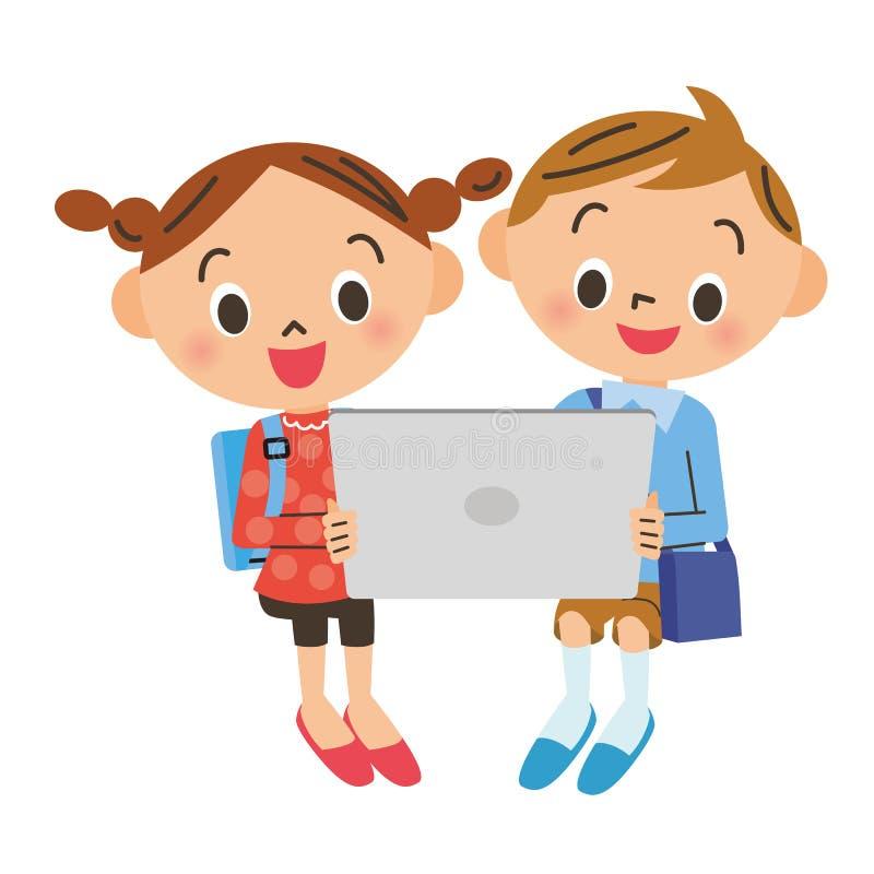 Barn som ser en minnestavla royaltyfri illustrationer