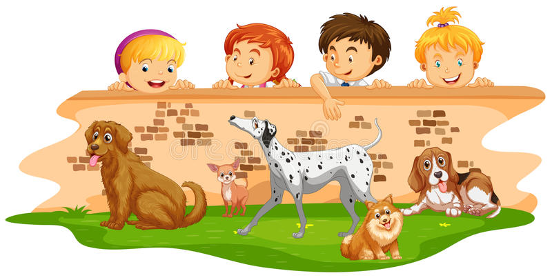 Download Barn Som Ser Hundkapplöpning över Väggen Vektor Illustrationer - Illustration av diagram, flicka: 78730728