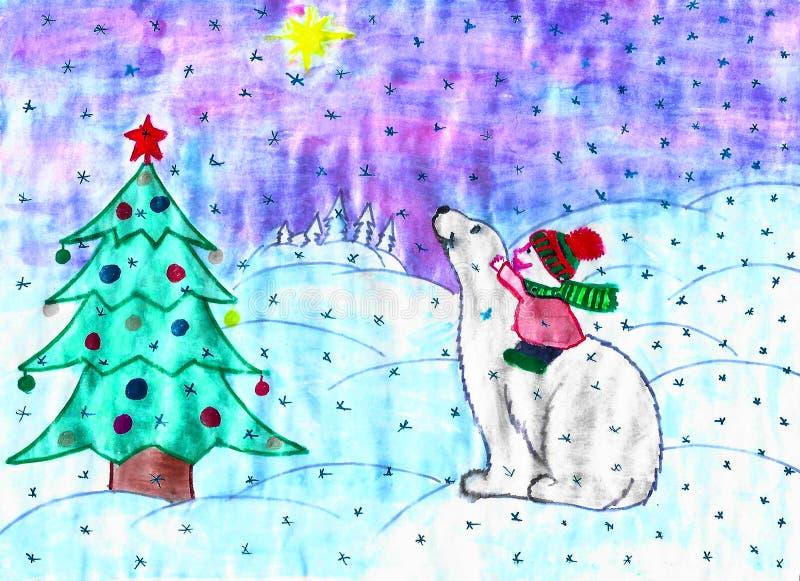 Barn som sitter på den vita björnen, julträd, snö, barnteckning royaltyfri illustrationer
