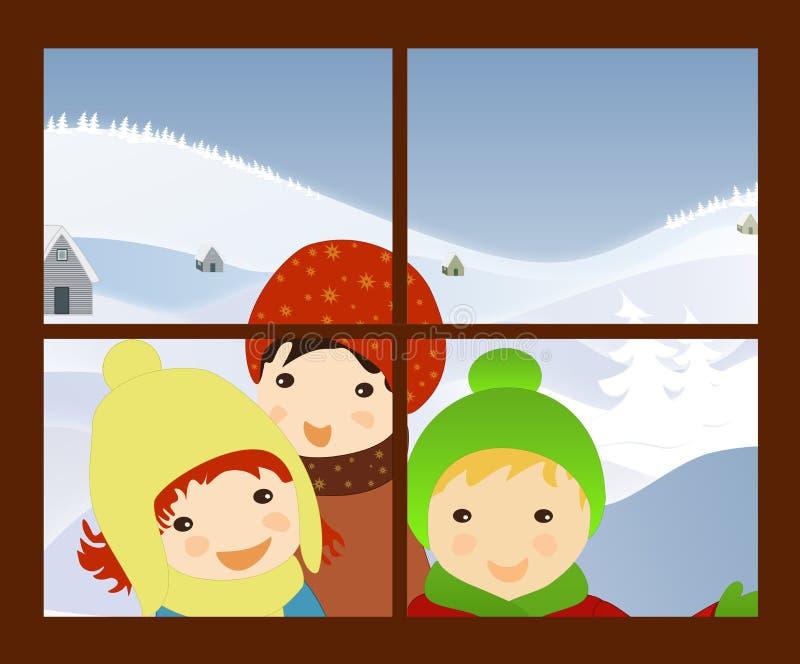 Barn som sjunger julsånger på fönstret stock illustrationer