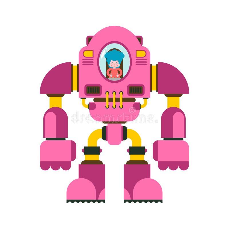 Barn som slåss roboten Liten flickaexoskelett robotic skelett för mekanisk teknologi Järndräktrobot Metalliska kläder stock illustrationer