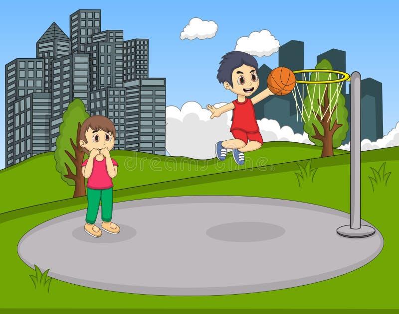Barn som spelar basket i parkeratecknade filmen vektor illustrationer