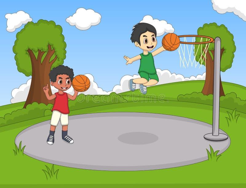 Barn som spelar basket på parkeratecknade filmen royaltyfri illustrationer