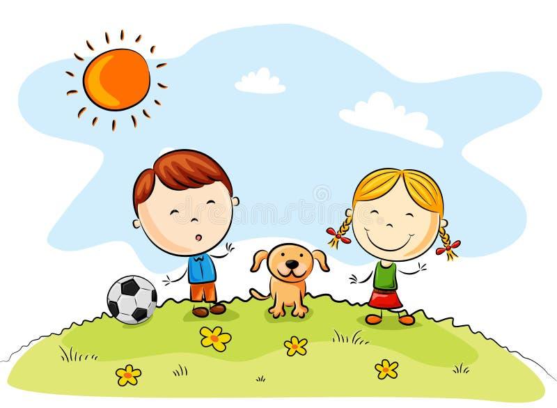 Barn som spelar fotboll med en hund i parkera royaltyfri illustrationer