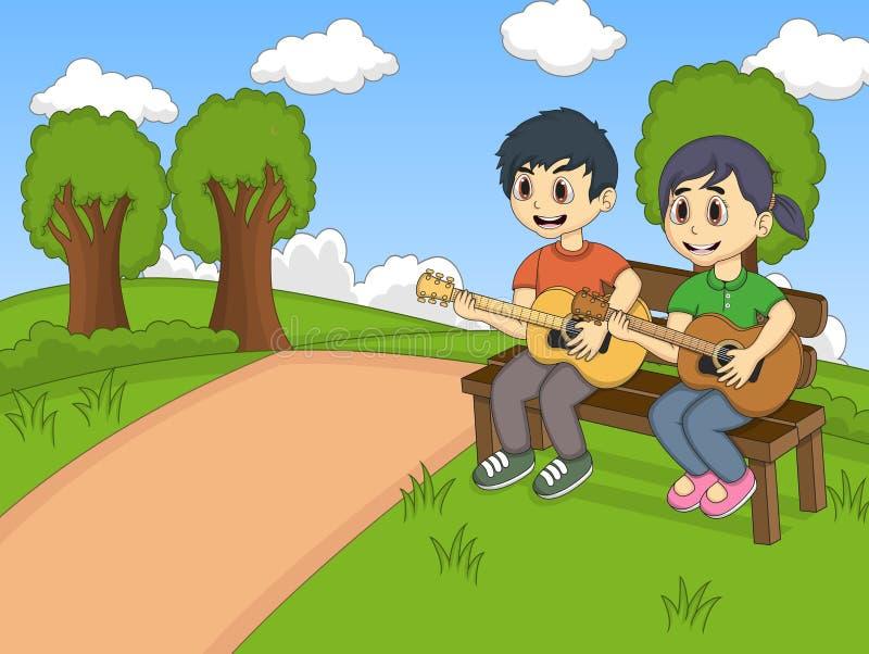 Barn som spelar gitarren i parkeratecknade filmen vektor illustrationer