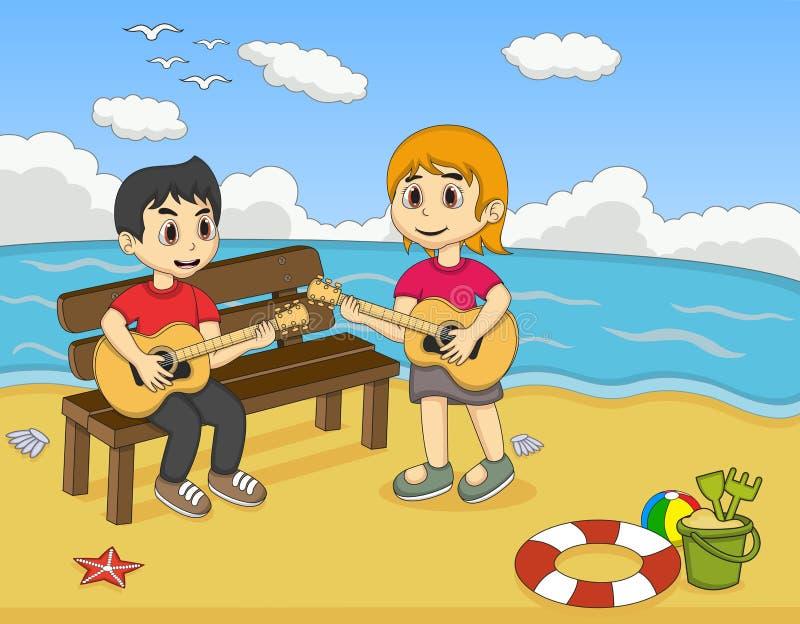 Barn som spelar gitarren på strandtecknade filmen vektor illustrationer
