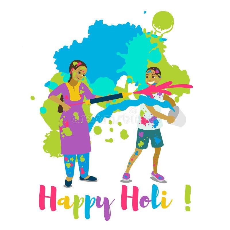 Barn som spelar holi Det lyckliga kortet och vektorn för holifestivalhälsning planlägger vektor illustrationer