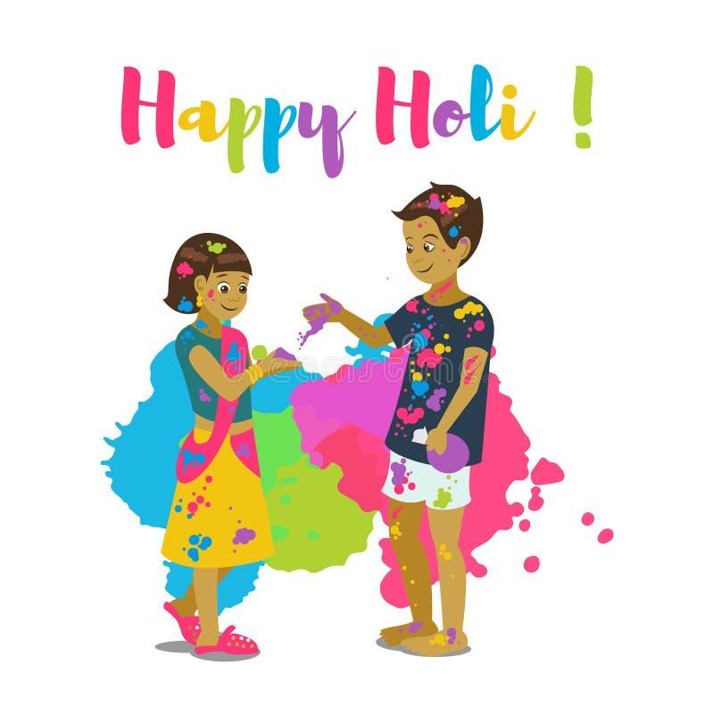 Barn som spelar holi Det lyckliga kortet och vektorn för holifestivalhälsning planlägger stock illustrationer