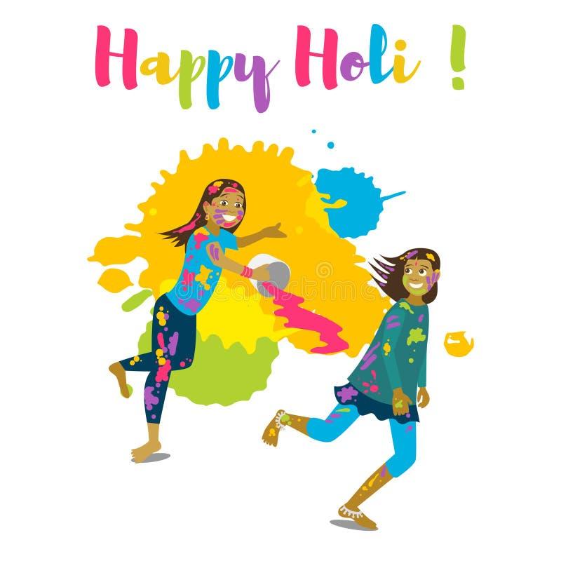 Barn som spelar holi Lyckligt kort och design för holifestivalhälsning stock illustrationer