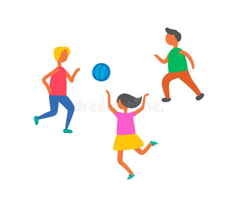 Barn som spelar i bolldet friavektor, isolerade stock illustrationer