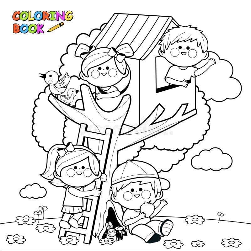 Barn som spelar i en sida för bok för färgläggning för trädhus vektor illustrationer