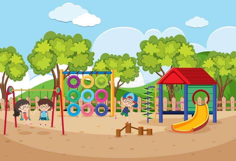 Barn som spelar i lekplats på dagen stock illustrationer