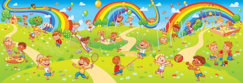 Barn som spelar i lekplats r stock illustrationer