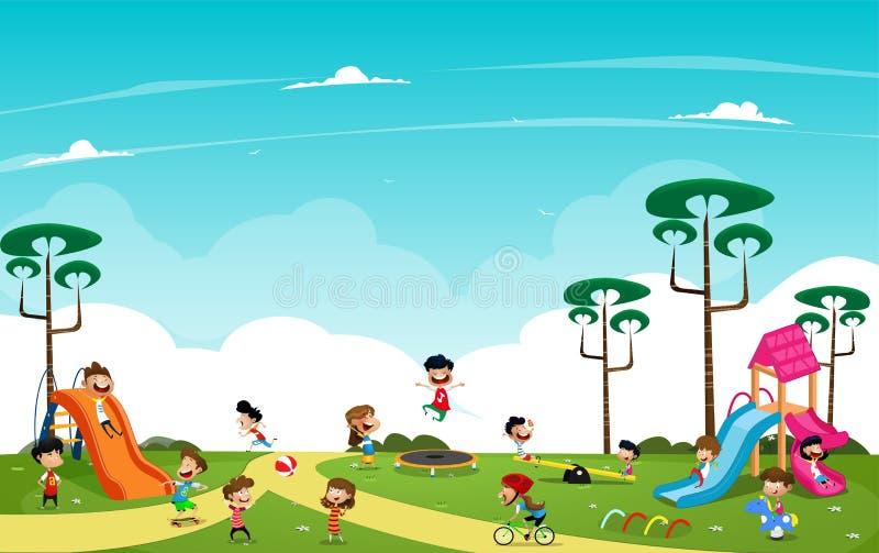 Barn som spelar i lekplatsen utanför Tecknad filmvektor vektor illustrationer