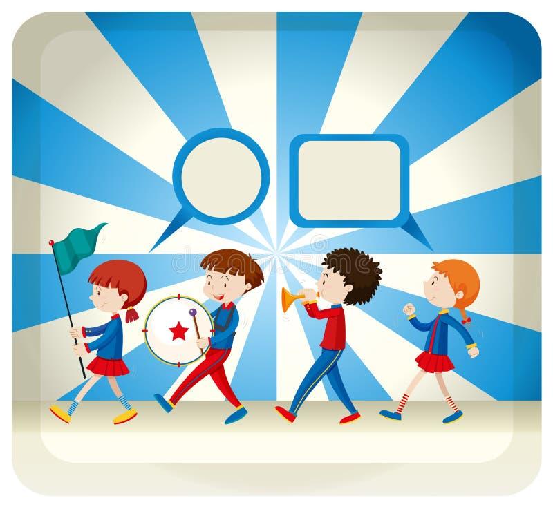 Barn som spelar i musikbandet royaltyfri illustrationer