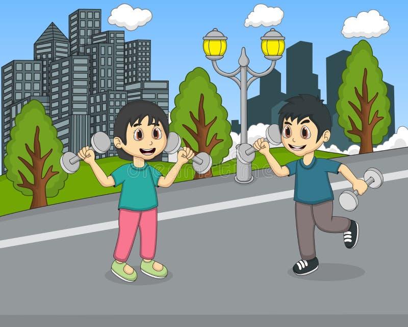 Barn som spelar i parkeratecknade filmen stock illustrationer