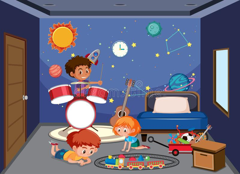 Barn som spelar i sovrum royaltyfri illustrationer