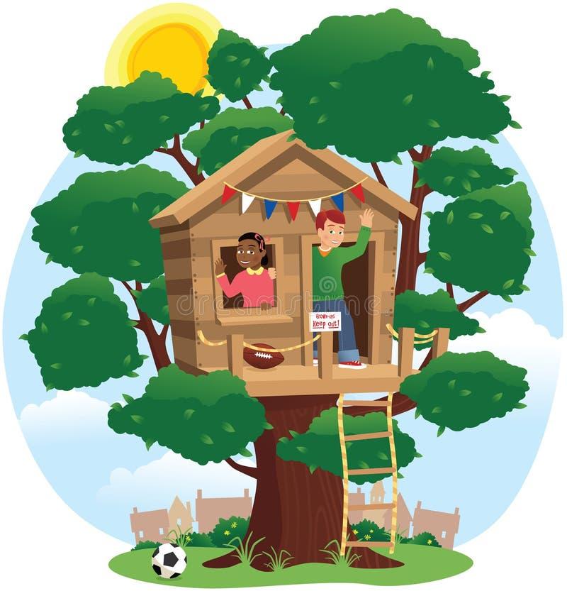 Barn som spelar i treehouse royaltyfri illustrationer