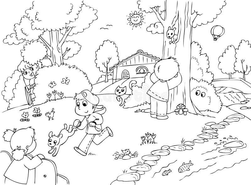Barn som spelar kurragömma stock illustrationer
